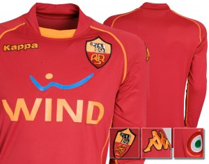 08-09 AS Roma Home Shirt Long Sleeved