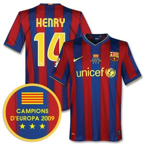 09-10 Barcelona Home Shirt Winners Transfer Henry 14