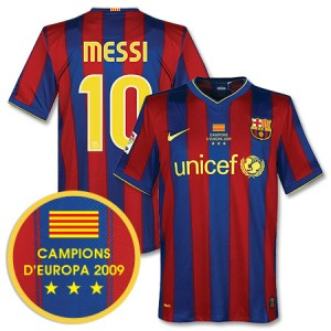 09-10 Barcelona Home Shirt Winners Transfer Messi 10