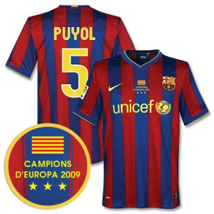 09-10 Barcelona Home Shirt Winners Transfer Puyol 5