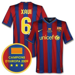 09-10 Barcelona Home Shirt Winners Transfer Xavi 6