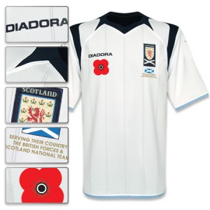 09-10 Scotland Away Shirt With Poppy & Donation