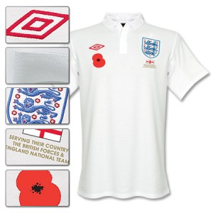 09-11 England Home Shirt With Poppy & Donation