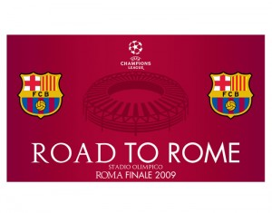 Barcelona Road To Rome Flag