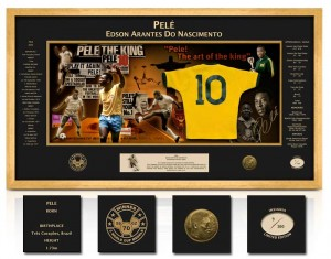 Pele Limited Edition Miniature Shirt Signed Montage