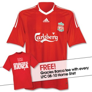08-10 Liverpool Home Shirt With Free Gracies Barca T-Shirt