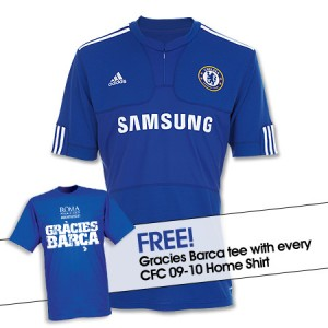 09-10 Chelsea Home Shirt With Free Gracies Barca T-Shirt