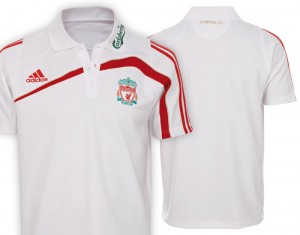 09-10 Liverpool Training Polo Shirt White/Light Scarlet
