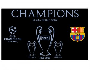 Barcelona Champions League Winners 08-09 Trophy Flag Black
