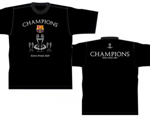 Barcelona Champions League Winners 08-09 Trophy T-Shirt Black Kids