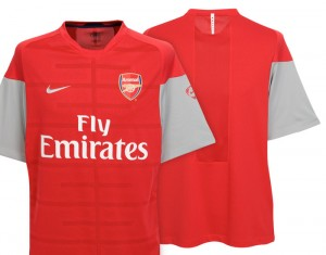 09-10 Arsenal Training Top Red/Silver/Silver