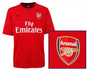 09-10 Arsenal Training Top True Red/Dark/Obsidian