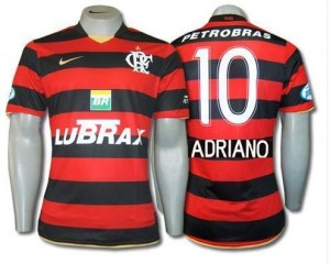09-10 Flamengo Home Shirt Adriano 10
