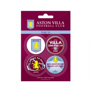 2010 Carling Cup Final Aston Villa Button Badge Set