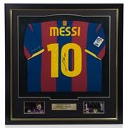 Barcelona Signed Messi Full Sized Shirt - Framed